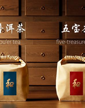 pu'er tea + five-treasure tea