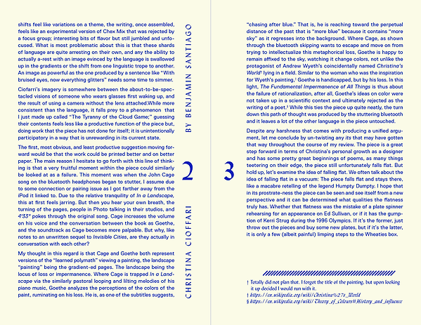 Cranbrook Reviews | Christina Cioffari Review | pg. 2 + 3