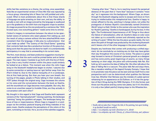 Cranbrook Reviews   Christina Cioffari Review   pg. 2 + 3