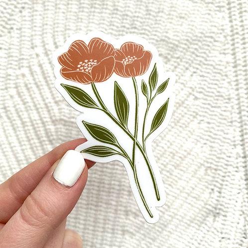 Orange Poppy Sticker