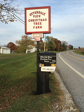 A view of the sign at the end of the lane of Otterdale View Farm.