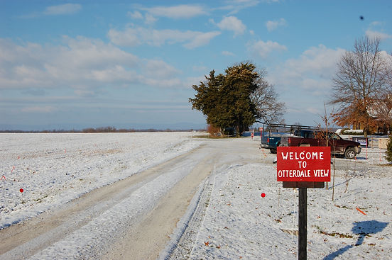 Farm Entrance- A look at the snow-covered parking lot at Otterdale View Farm.