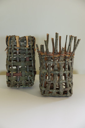 native willow and copper wire vessels
