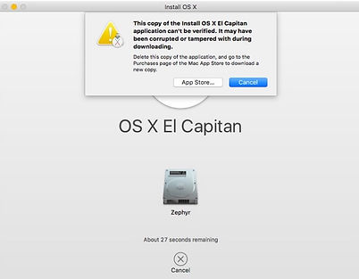OS X installer error may be corrupted