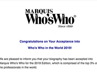 International recognition: Who's Who in the World, 2019