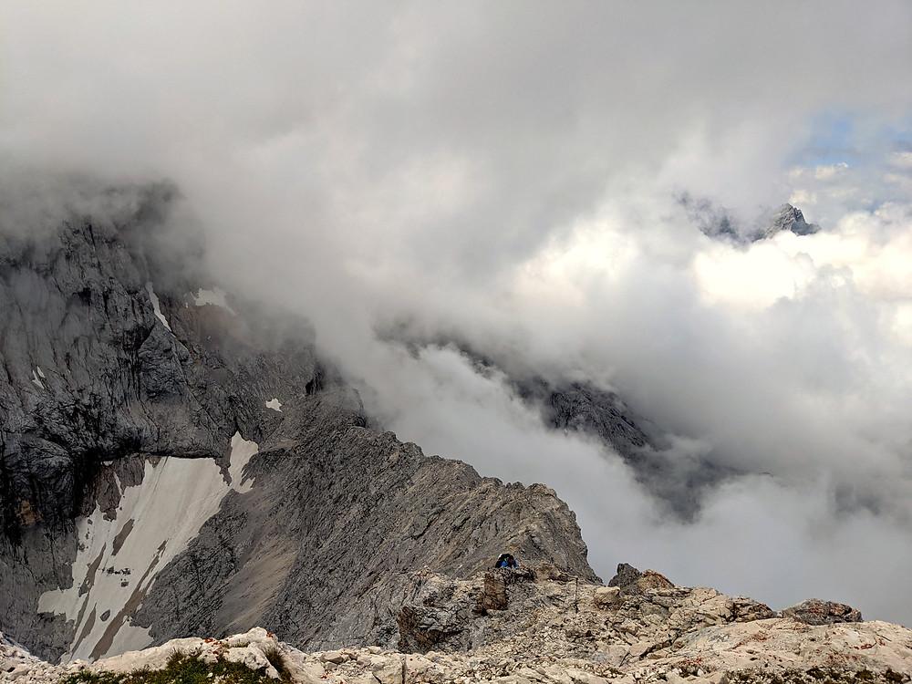 Das Mateiserkar von der Alpspitze aus. Dies ist der letzte Abschnitt des Jubiläumsgrates