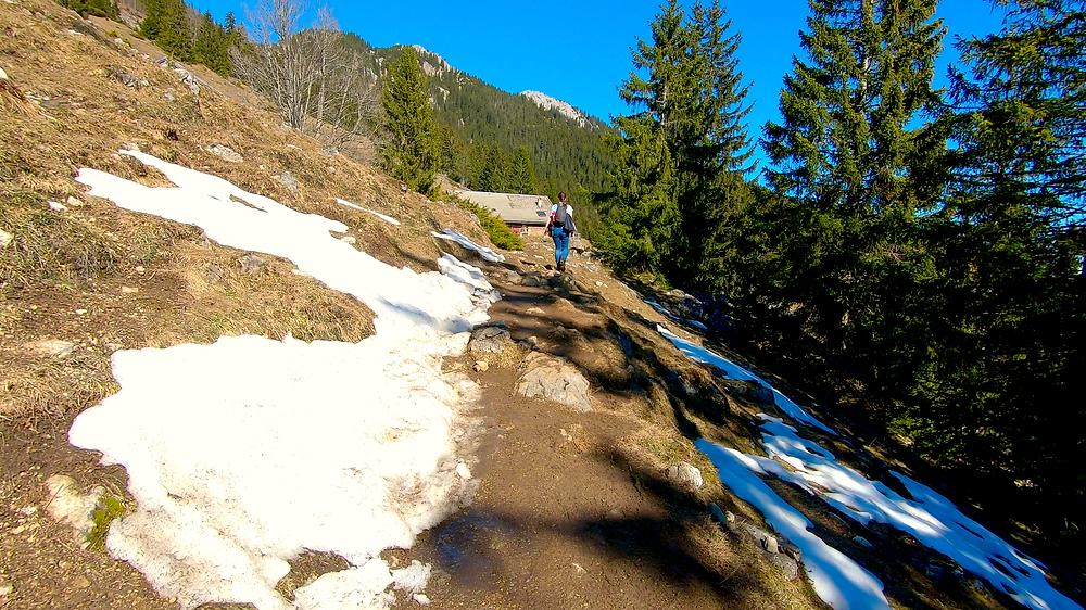 Der Wanderweg mit ein paar Schneeresten zu beiden Seiten auf halber Höhe zum Wildalpjoch