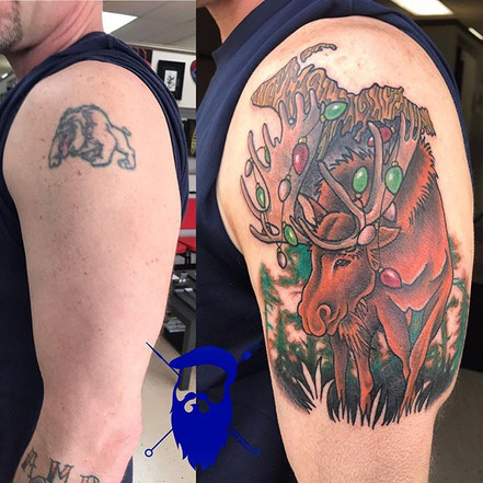A CHRIStmas moose cover up for our buddy