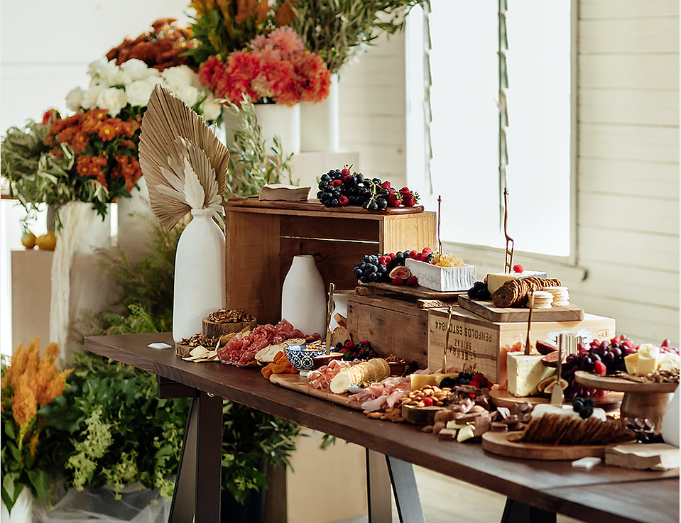 perth rusitc grazing table with florals
