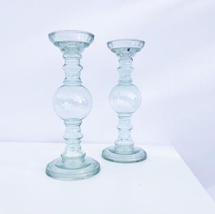 Seafoam Glass Pillar Stands