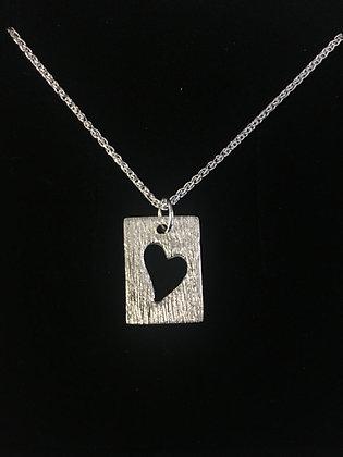 Rectangle Pendant + cut out heart