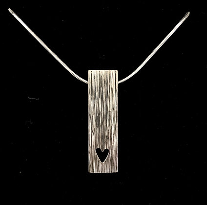 Long textured (linear) pendant + cut out heart