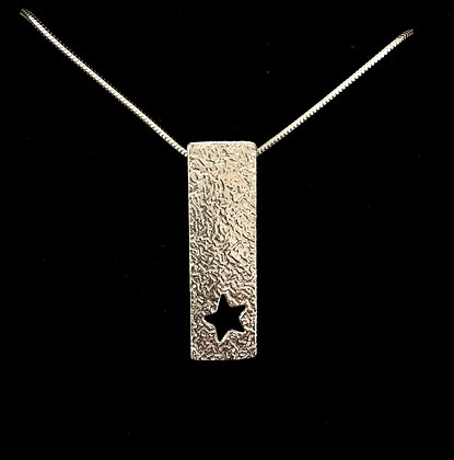 Long textured Pendant + cut out star