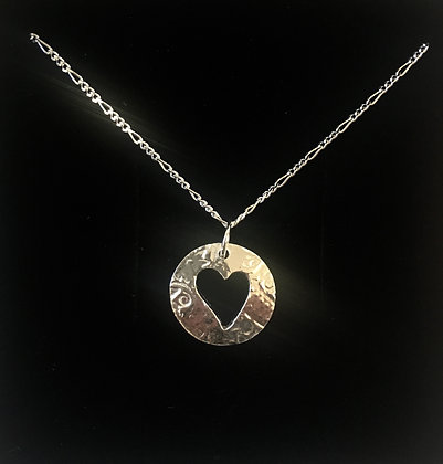 Circle Pendant + cut out heart