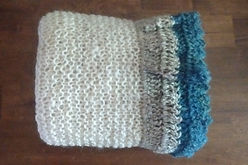 MaryBay Knitted Wrap with Silver and Lake Michigan by Wheely Wooly Farm