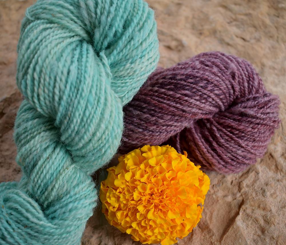 Wheely Wooly Farm's 100% Wheelspun Yarn in Aquamarine and Violet