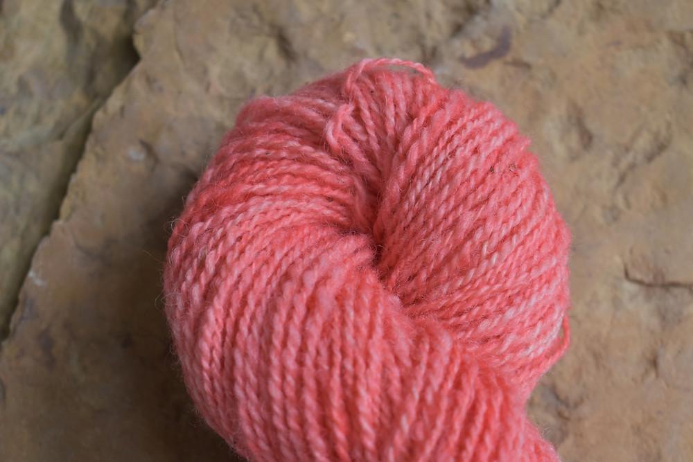 Wheely Wooly Farm Misty's Strawberry Lemonade 100% Wheelspun Yarn