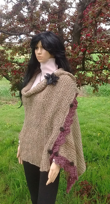 Gwendolyn's Knitted Wrap with Berry Trim/Buttons by Wheely Wooly Farm