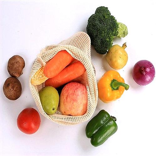Organic Cotton Mesh Bag Eco-Friendly Vegetable Fruit Shopping Bag Reusable