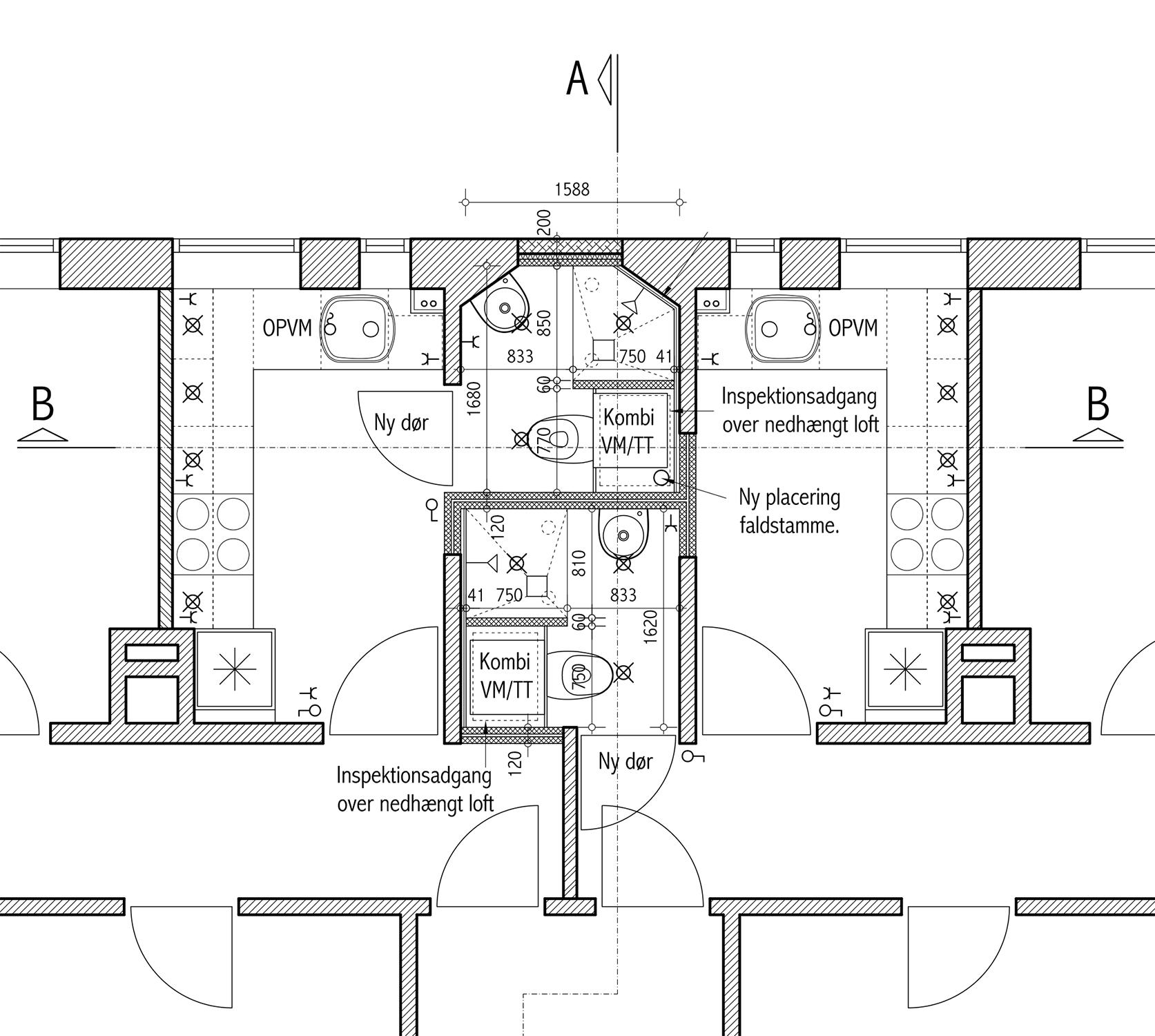 A(99)02 Indretning badeværelser stue, 1sal og 2sal