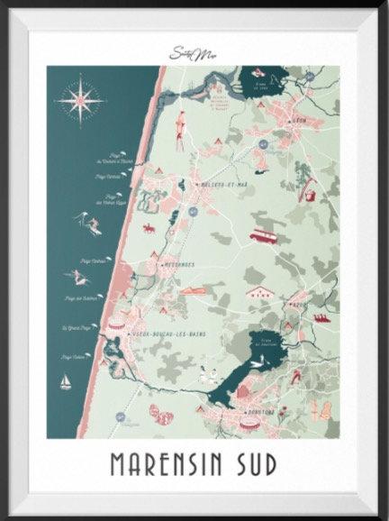 Carte Marensin Sud Seaty Map