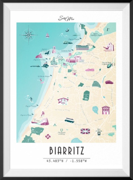 Carte Biarritz Seaty Map