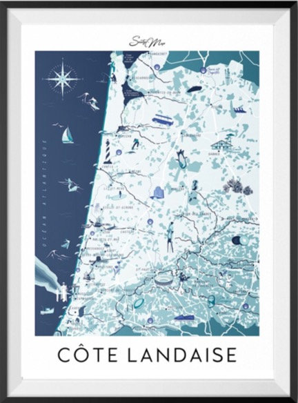 Carte Côte Landaise Seaty Map