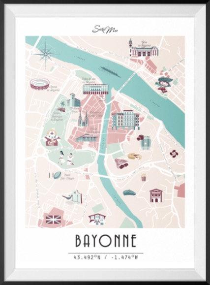 Carte Bayonne Seaty Map