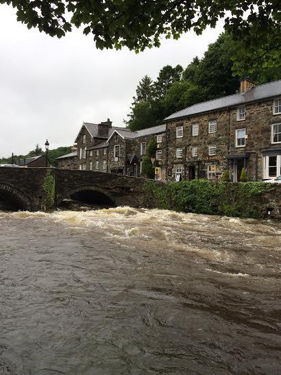 Never seen the River Glaslyn so full; wet feet all-round!