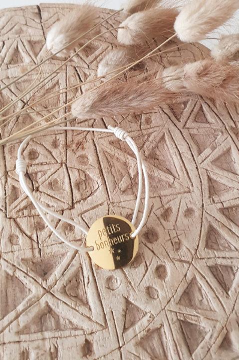 "Bracelet Médaille ""Petits Bonheurs"" Cordon Ecru"