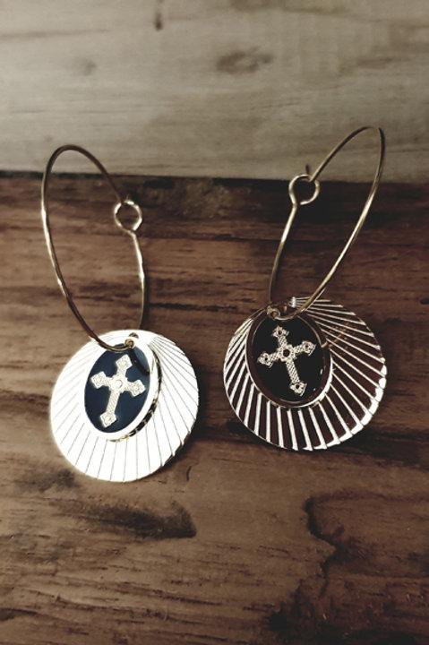 BO Pampille Médaille Croix Noir