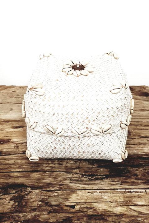 Boite Bambou Flower White - L