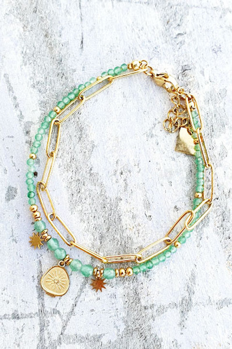 Bracelet Duo - Gold Aventurine - N.4
