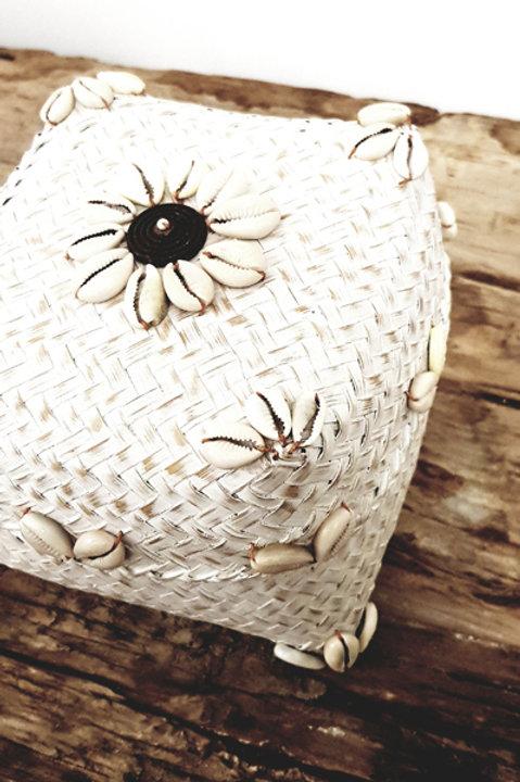 Boite Bambou Flower White - S