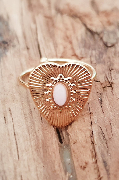 Bague Heart - Quartz Rose