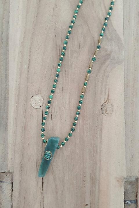 Collier Sautoir - Perles de Pierre Malachite