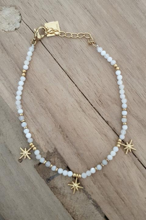 Bracelet Perles de Pierre - Agathe Blanche N6
