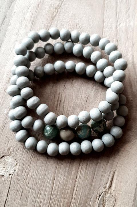 Bracelet Trio Perles Bois - Vert D'Eau
