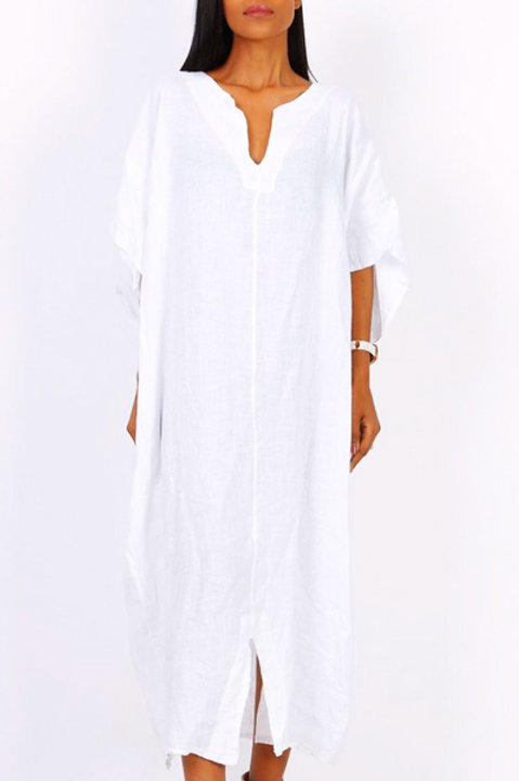 Robe Longue Lin - Blanc