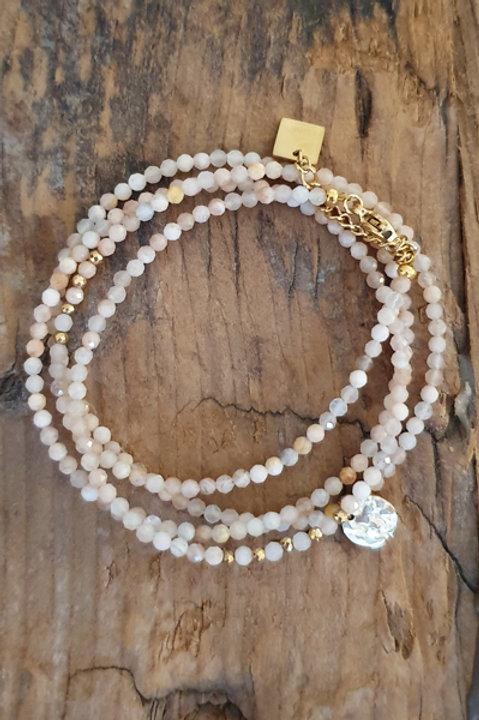 Bracelet Duo Collier - Perles de Pierres Naturelles - Quartz Rose - N.5