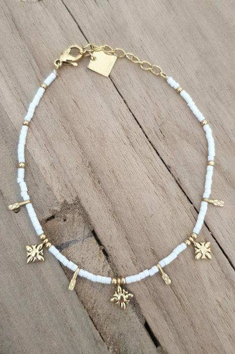 Bracelet Perles de Pierre - Agathe Blanche N4
