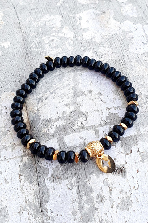 Bracelet - Pierre Onyx - Pampille Etoile Gold