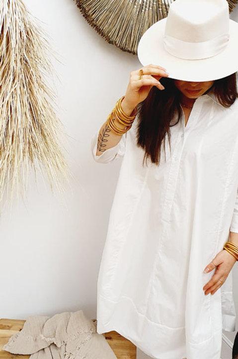 Robe Oversize Manche Longue Popeline de Coton