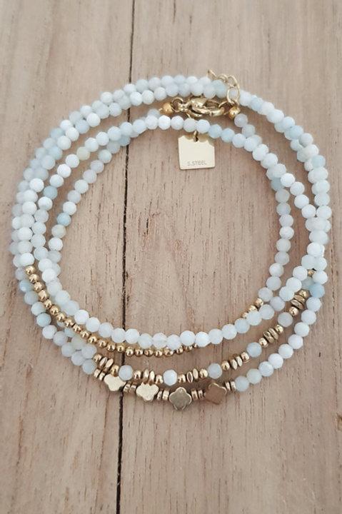 Bracelet Duo Collier - Perles de Pierres Naturelles - Aigue Marine - N4