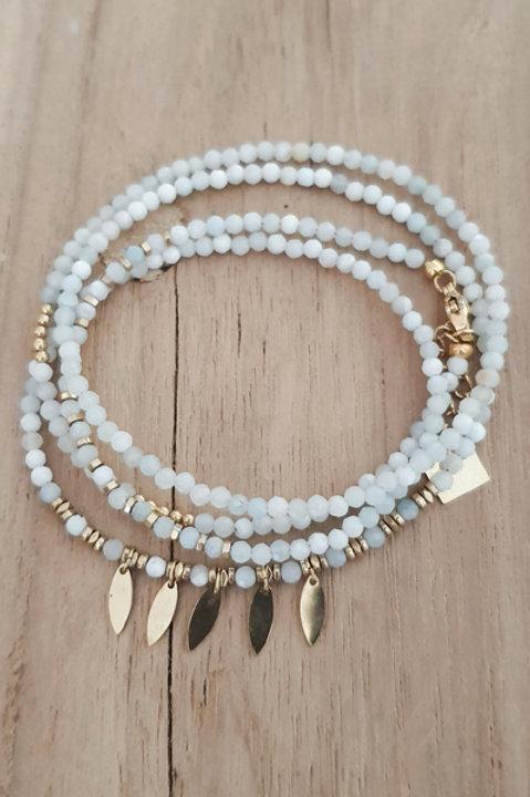 Bracelet Duo Collier - Perles de Pierres Naturelles - Aigue Marine - N5