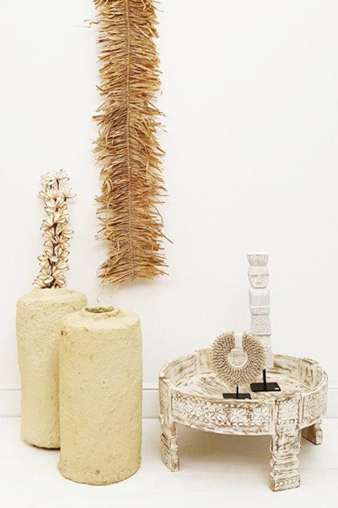 Table Chakki Bois Sculpté - White