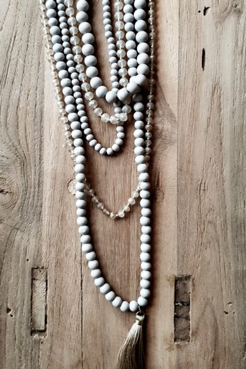 Sautoir Multi Perles Bois - Grey Vert d'Eau