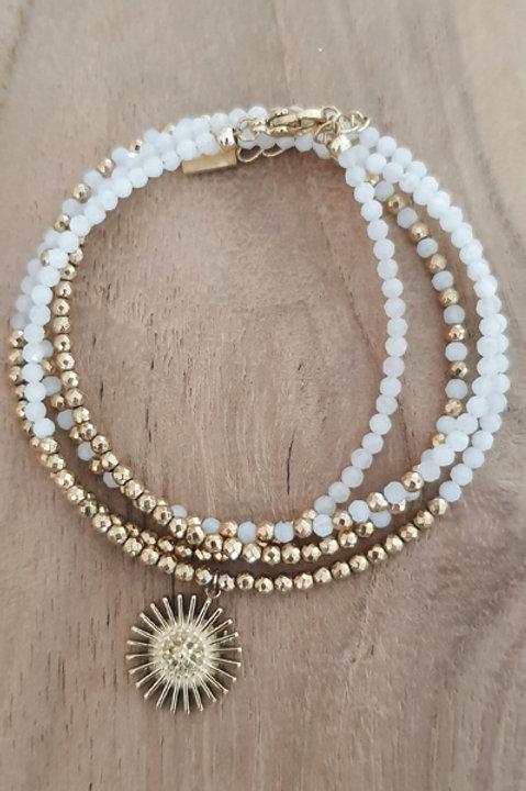 Bracelet Duo Collier - Perles de Pierres Naturelles - Agathe Blanche - N1