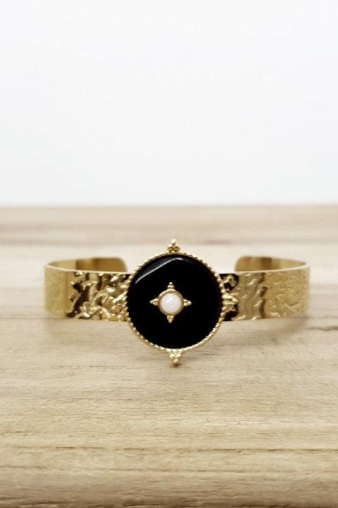 Bracelet Jonc Azteque Rond Onyx Black