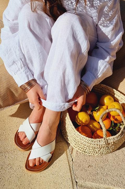 Sandale Cuir Maiori Blanc